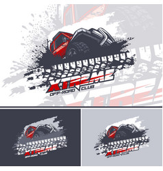 Red off road car logo overcoming mud obstacles vector