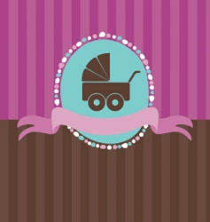 retro card with baby pram vector image vector image