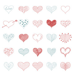 romantic love doodle hearts retro sketch icons set vector image