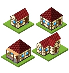 rural isometric house collection vector image
