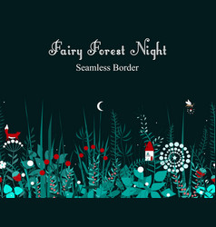 seamless border with forest plants and fairy vector image