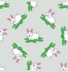 seamless pattern with rabbit and carrot isolated vector image