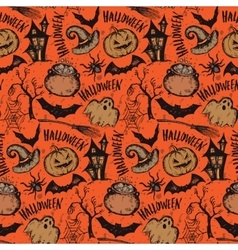 seamless pattern with sketch Halloween vector image vector image