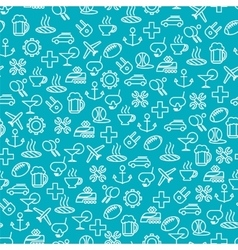 Seamless pattern with travel line icons vector image