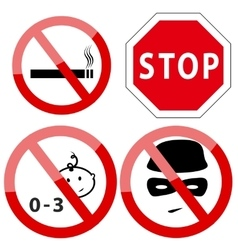 set four restricted access denied signs vector image