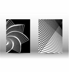 Set of abstract patterns with distorted lines vector