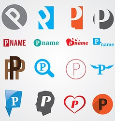 Set of alphabet symbols of letter P vector image