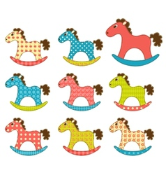 Set of patchwork horses 3 vector image