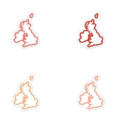 Set of stickers map britain on white background vector