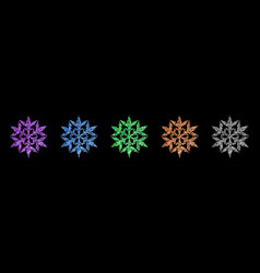 set shiny snowflakes vector image