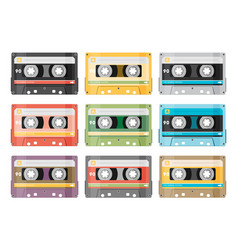 Set various audio tapes in flat style vector