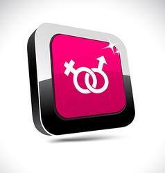 Sex 3d square button vector image
