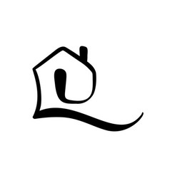 simple calligraphy house real icon estate vector image