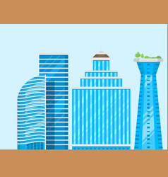 skyscrapers buildings isolated tower office city vector image