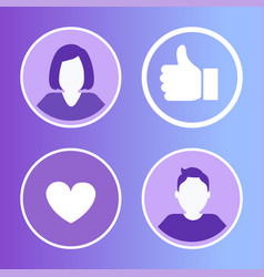 social network avatars set vector image