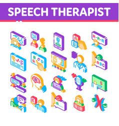 Speech therapist help isometric icons set vector