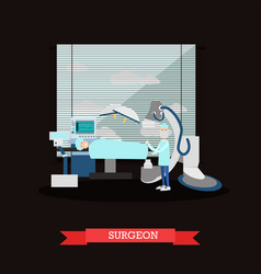 surgeon and patient in flat vector image