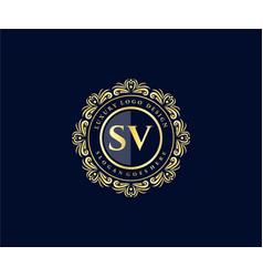 Sv initial letter gold calligraphic feminine vector