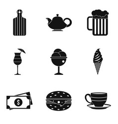 tasty dessert icons set simple style vector image