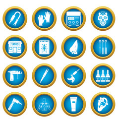 tattoo parlor icons blue circle set vector image