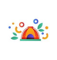 Tent camping scouting summer travel equipment vector