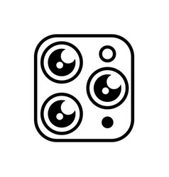 triple camera simple icon on a white isolated vector image