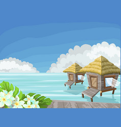 tropical island in the ocean with exotic flowers vector image