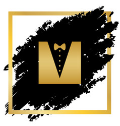 Tuxedo with bow silhouette golden icon at vector