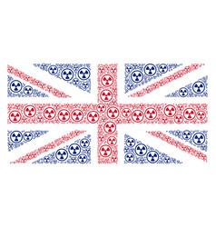 uk flag mosaic of radioactive icons vector image