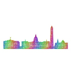 Washington skyline - multicolor line art vector