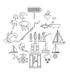 Water bewitched icons set outline style vector
