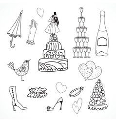 Wedding set of cute hand drawn icons vector