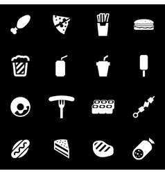 white fastfood icon set vector image