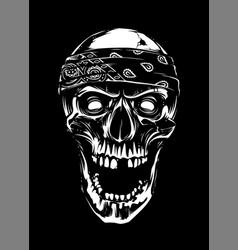 white skull in bandana on black background vector image