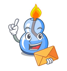 With envelope alcohol burner character cartoon vector