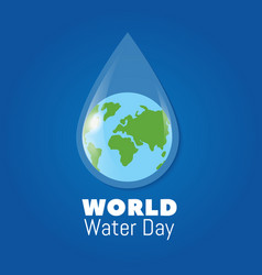 world water day poster earth in clear water drop vector image