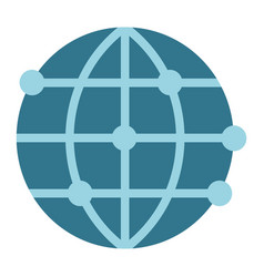 Worldwide flat icon globe and website vector