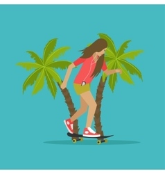 Young girl skateboarding next to palms vector