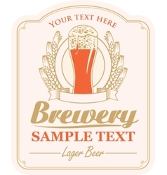 brewery label with a glass of beer vector image vector image