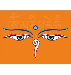 Buddha eyes or Wisdom eyes - religious symbol vector image vector image