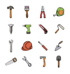 building icons set cartoon vector image