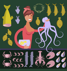 cartoon character seafood seller vector image