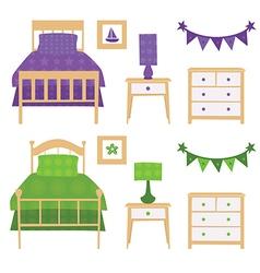 Children Bedroom Furniture Set vector image vector image