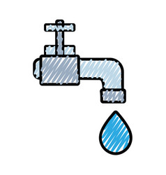 Faucet with drop of water to ecology conservation vector