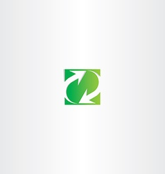 green recycle arrow square sign symbol vector image