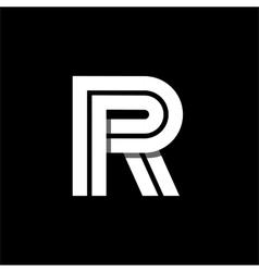 Letter R wide white stripes Logo monogram emblem vector image vector image