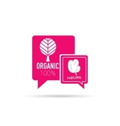 organic icon in speech bubble in pink vector image