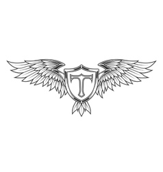 Wings with feathers and a shield vector image