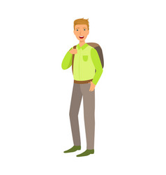 a male student with a school bag colorful cartoon vector image vector image