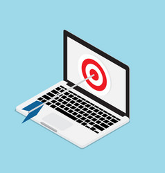 arrow hit on target with laptop vector image